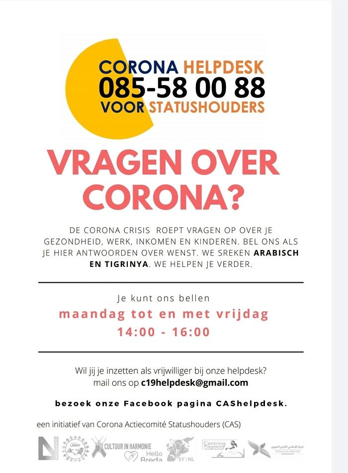 Corona-helpdesk voor statushouders