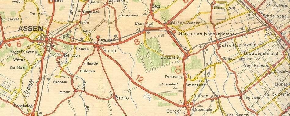 Het oude tracé in kaart van het het spoorlijntje tussen Stadskanaal en Gieten