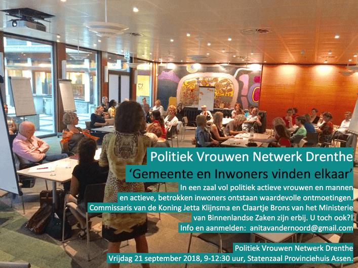 Uitnodiging Politiek Vrouwen Netwerk Drenthe 21 september 2018